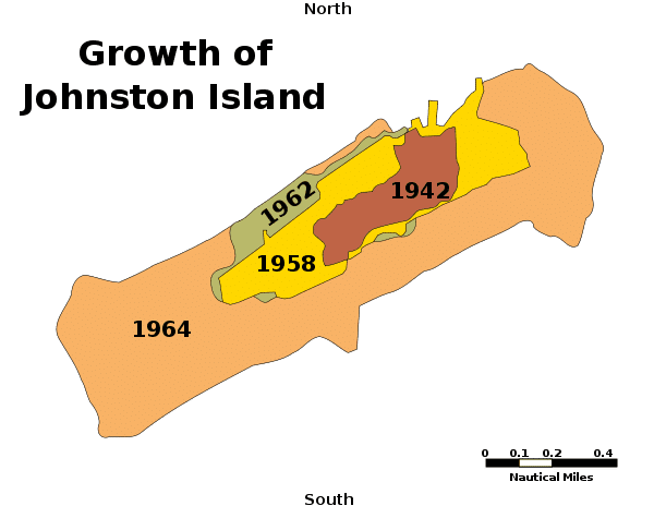 Map showing expansion of Johnson Island - Ghost Airports