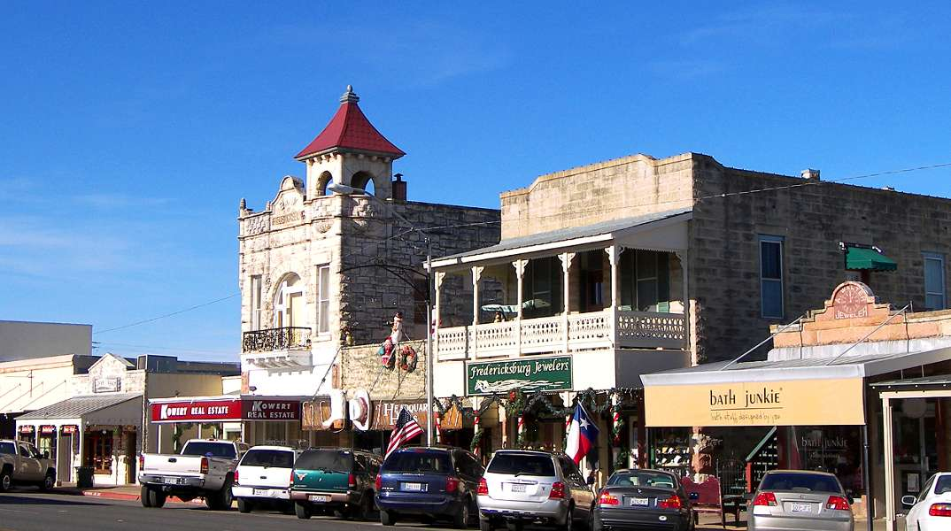 Historic downtown district of Fredericksburg TX.