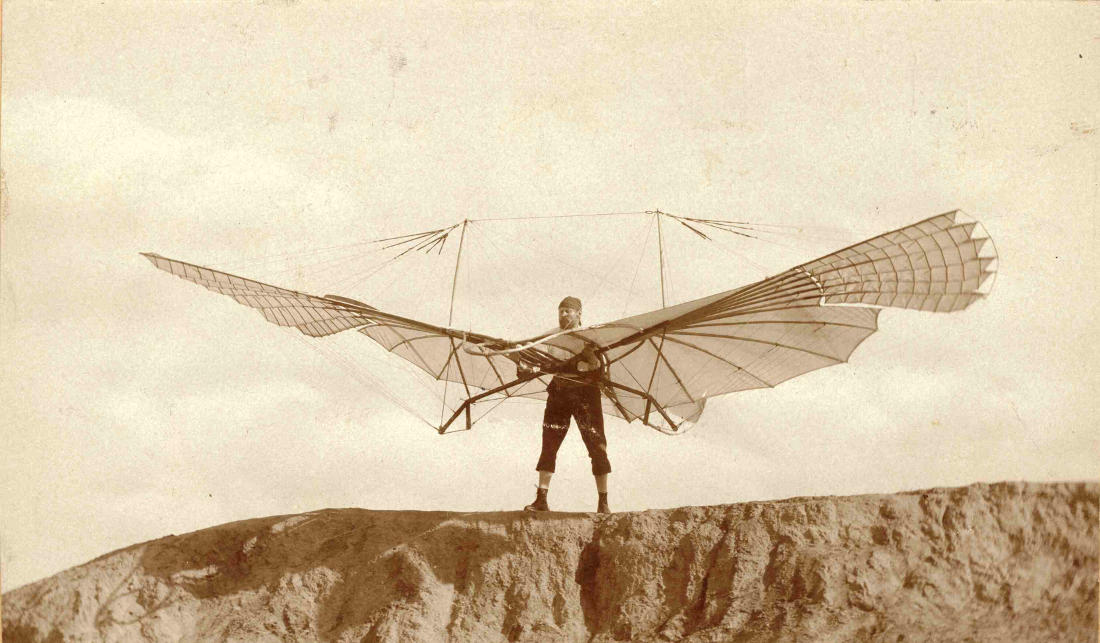 Otto Lilienthal prepares to take flight.