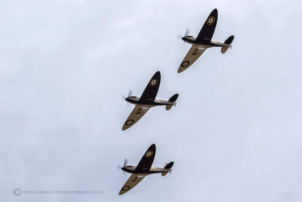 Three Supermarine Spitfires, used in the movie Dunkirk, flying in formation