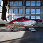 A Cherokee 180 in the hangar after an aircraft emergency