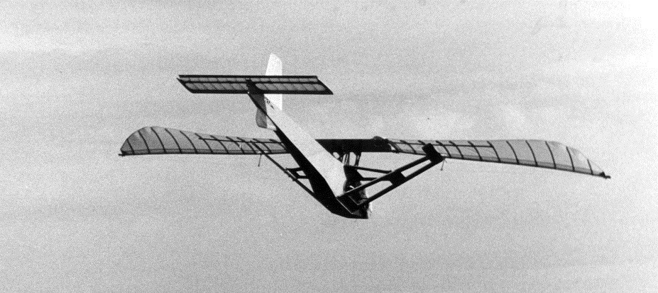 An ornithopter model in flight.