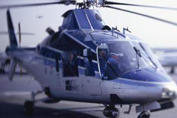 A helicopter preparing for flight - Texting and flying