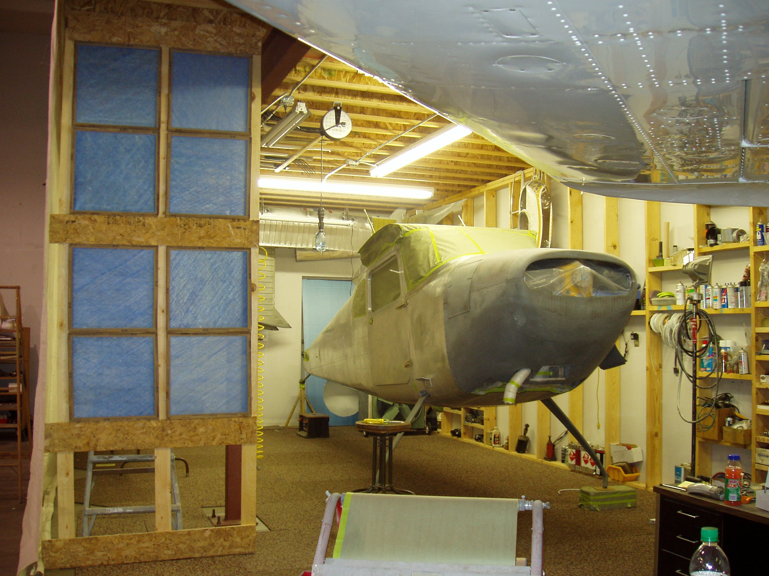 The Cessna 180 Skywagon in the paint booth - Tailwheel