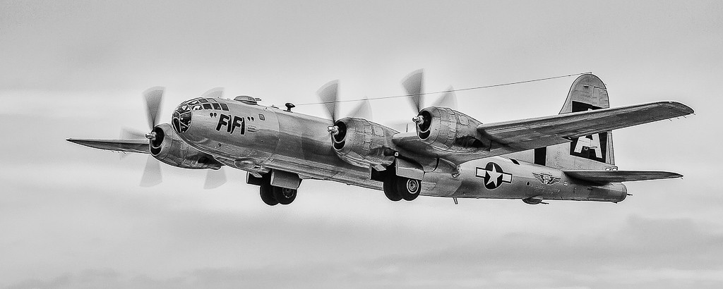 B-29 Superfortress coming in for a landing.