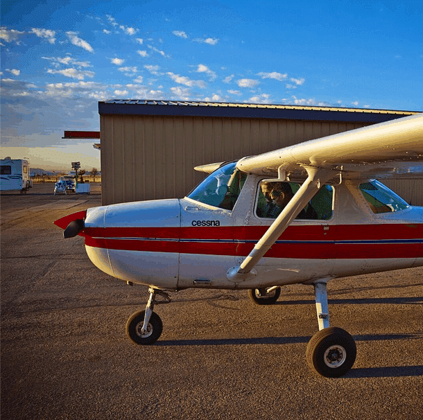 A Cessna 150 after a pre-flight inspection