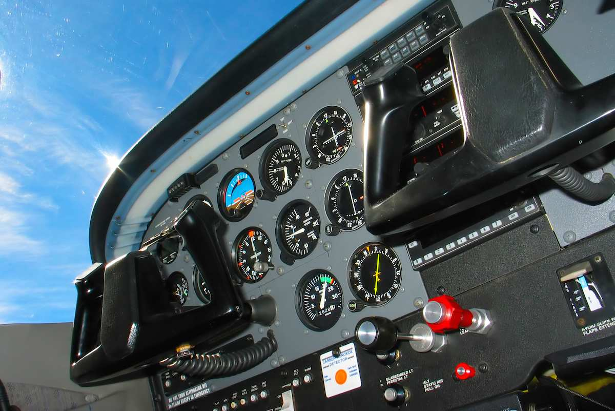 Interior view of a general aviation airplane - Flight Instruments