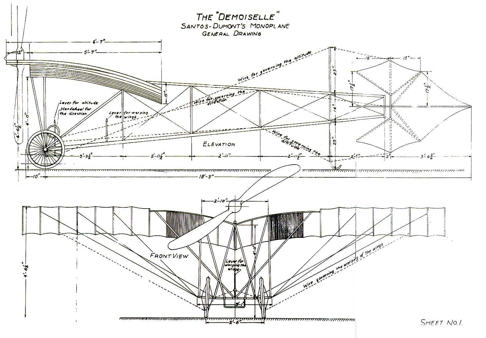 The plans for Alberto Santos-Dumont's Demoiselle.
