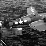 F6F Grumman Hellcat prepares for catapult launch from carrier - 271 Days of Combat