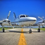 Cessna 421B on the runway