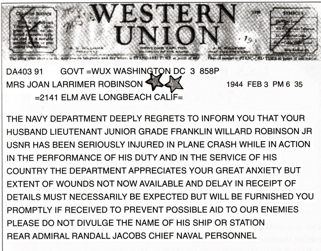 Telegram about Robbie Robinson's wounds - In the Navy, November 1942