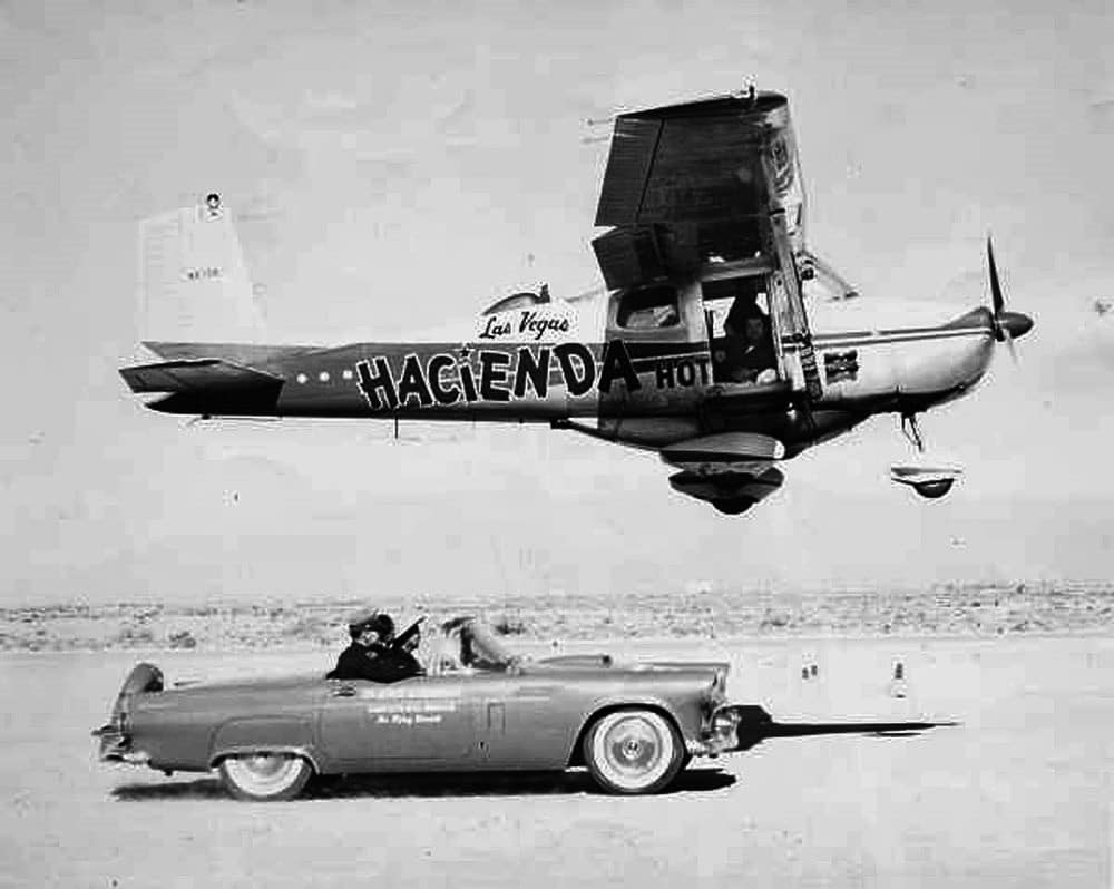 The Hacienda flying low over the highway - The Flight Endurance World Record