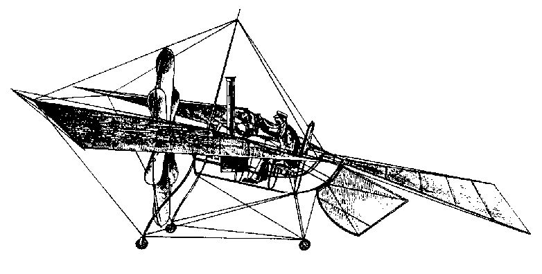 A drawing of Felix Du Temple's first monoplane design - First Flight: the Early Aviators