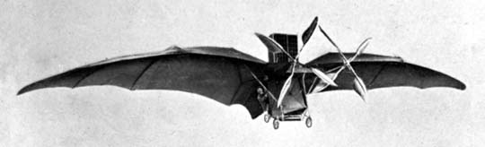 A photo of Ader's machine in (brief) flight. - First Flight: the Early Aviators