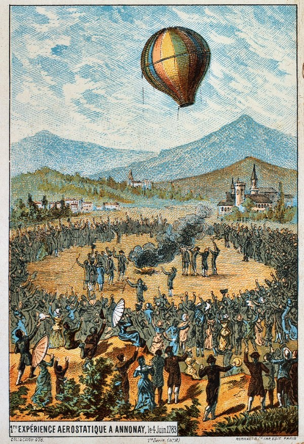 A drawing of the first demonstration of the Montgolfier's balloon - First Flight: the Early Aviators