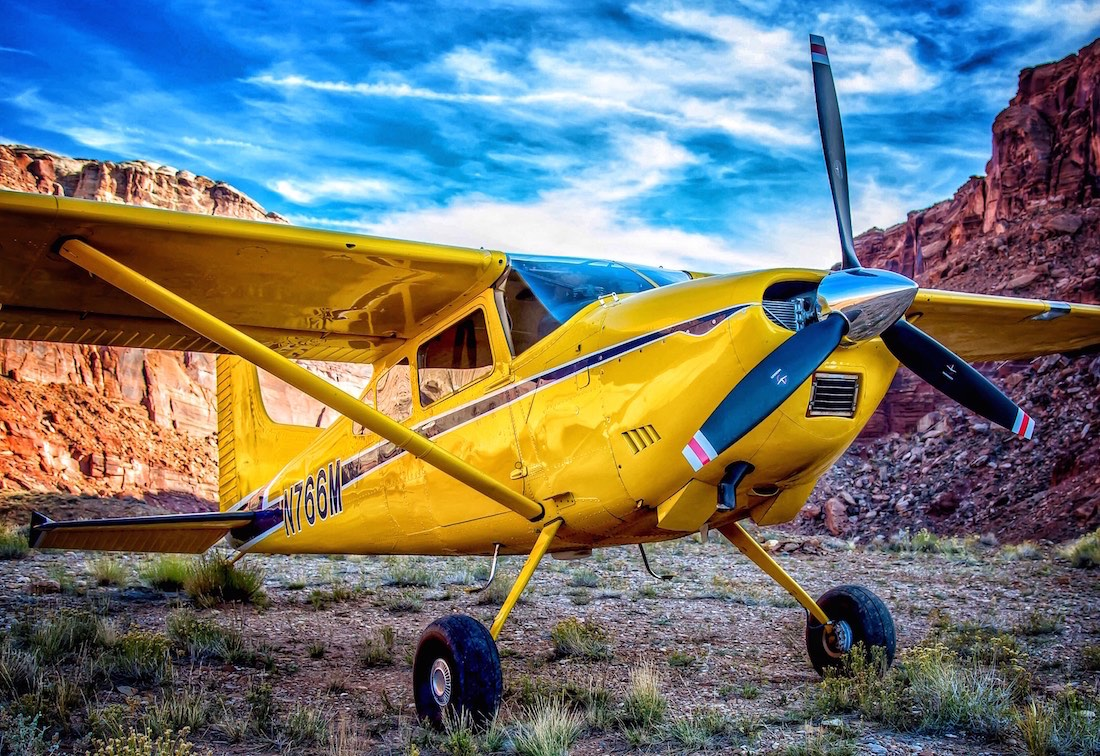 A Cessna Skywagon at the Hidden Splendor Airstrip.