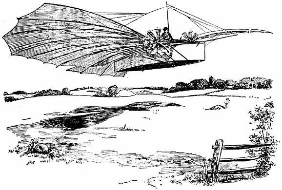 Woodcut of Number 21 in flight - First Flight: Gustave Whitehead