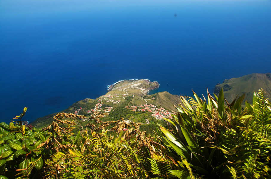 View from Mt Scenery - Saba and the Juancho E Yrausquin Airport