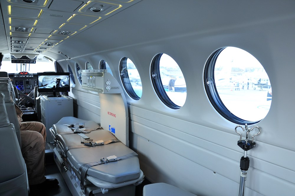 The inside on an air ambulance, designed to ferry sick passengers between hospitals for treatment.