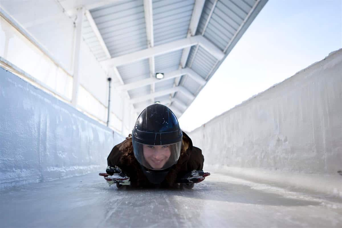 Enjoying the Skeleton style bobsled track at the Olympic Park venue - Accessible through Lake Placid Airport