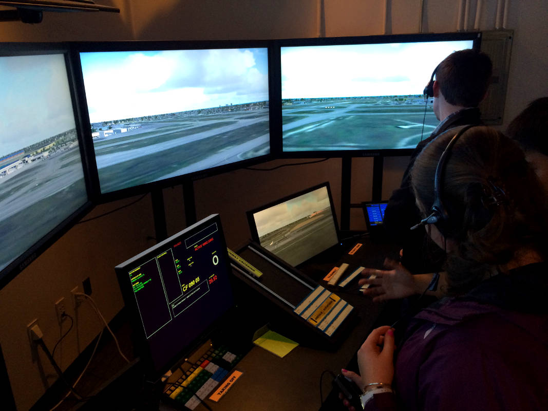 An air traffic control room, where some aviation careers lead after a discovery flight.