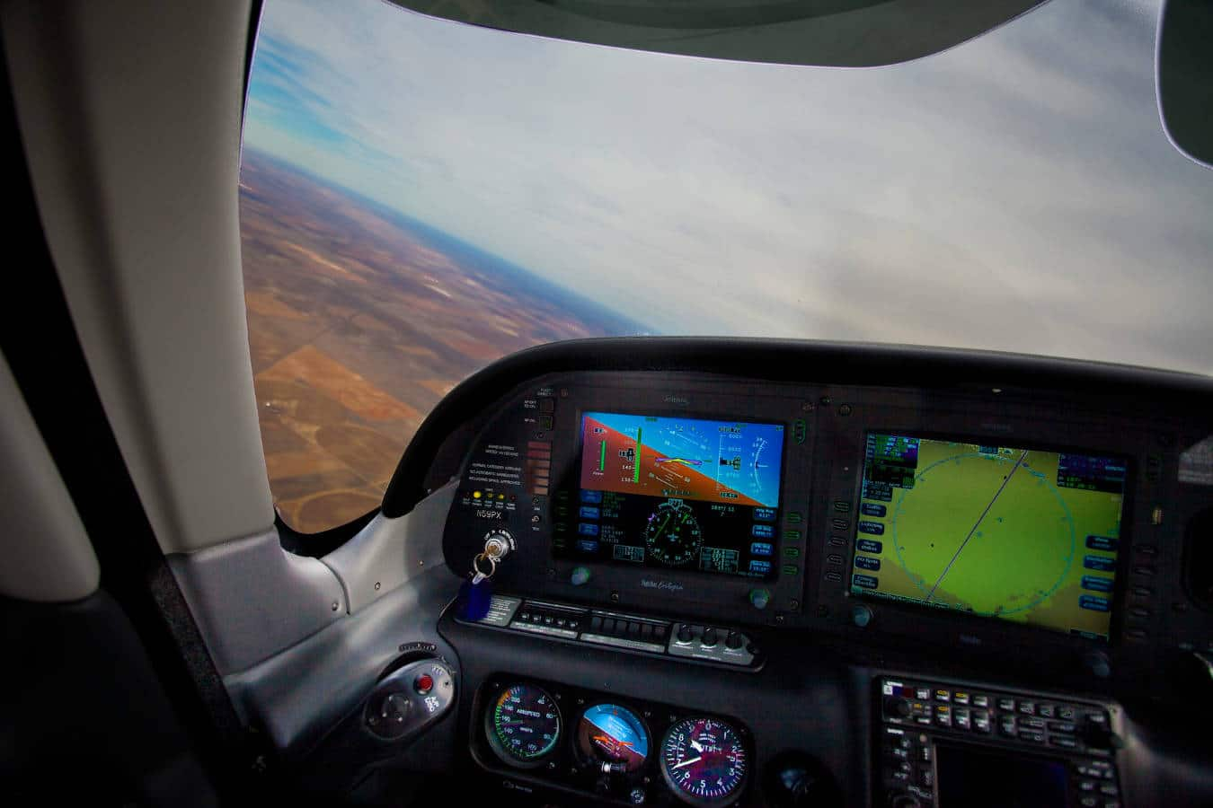 The instrument panel in a Cirrus SR-22, useful with an instrument rating.