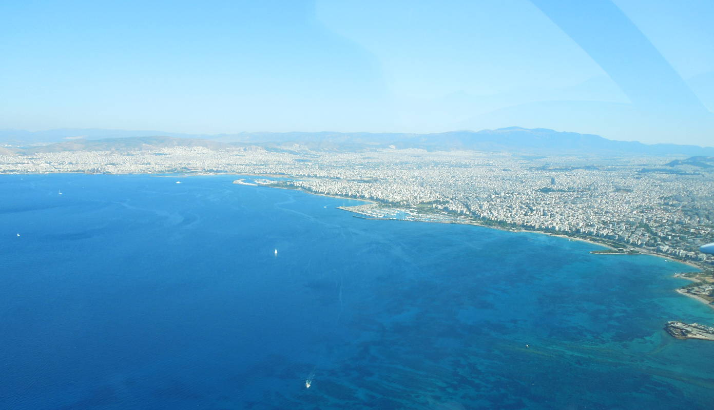 Flying over the Saronic Gulf, towards the island of Aegina, on the way to Paros.