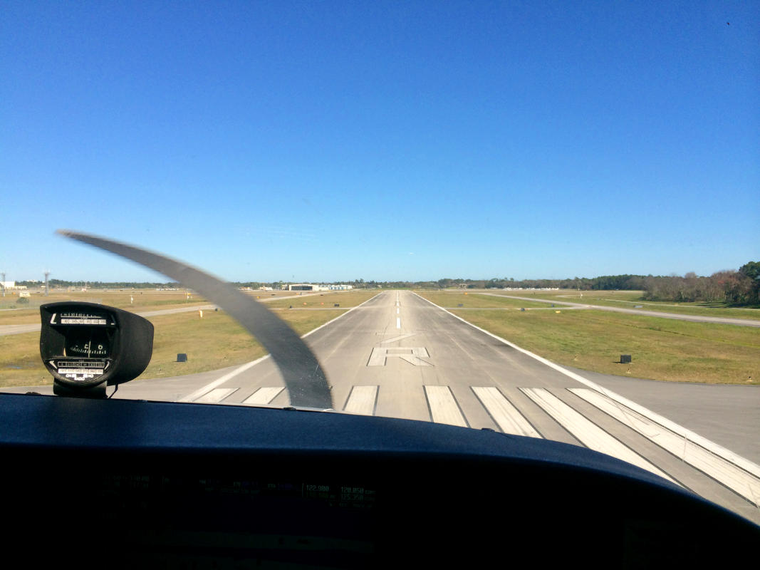 Cockpit view of a student pilot landing on the runway after a solo flight - My Discovery Flight