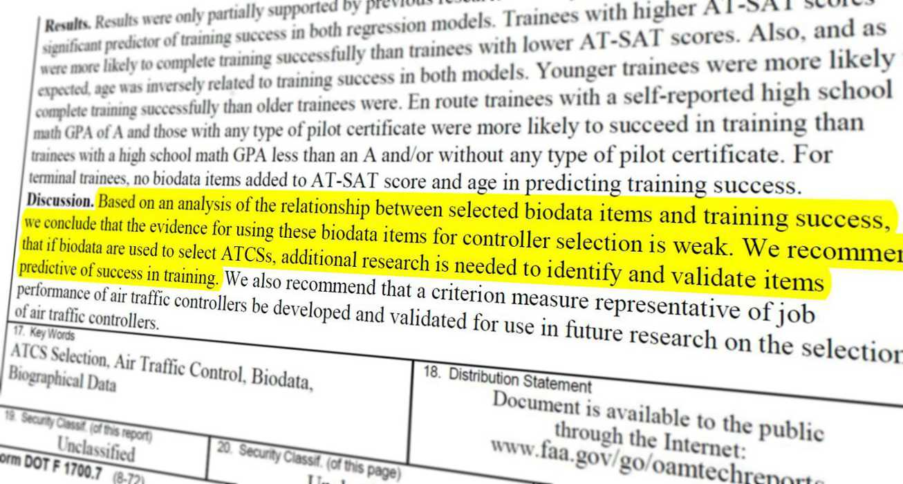Screenshot of an FAA document talking about the FAA hiring scandal.