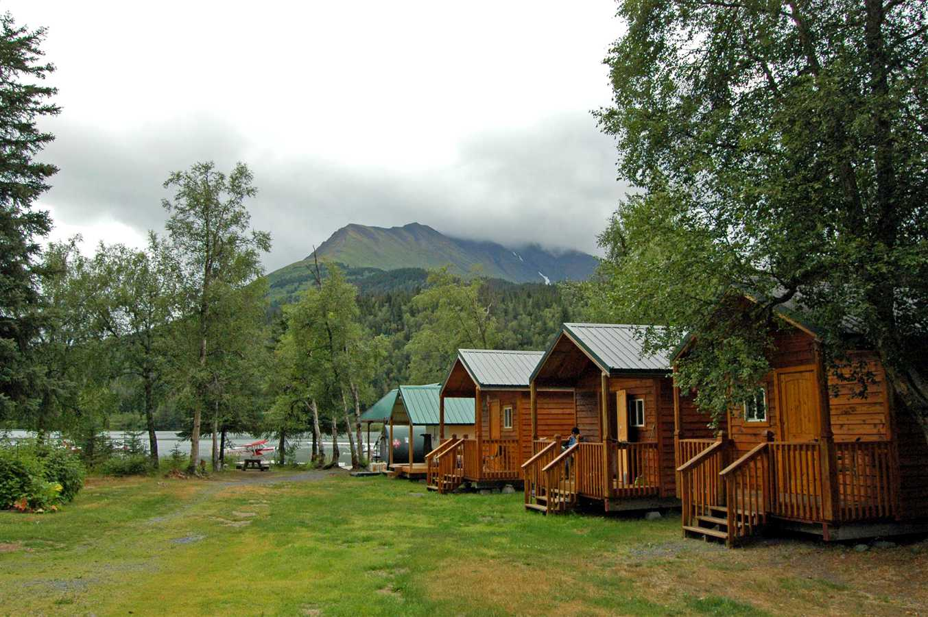 Cabins next to the docks at the Alaskan Float Ratings facility.