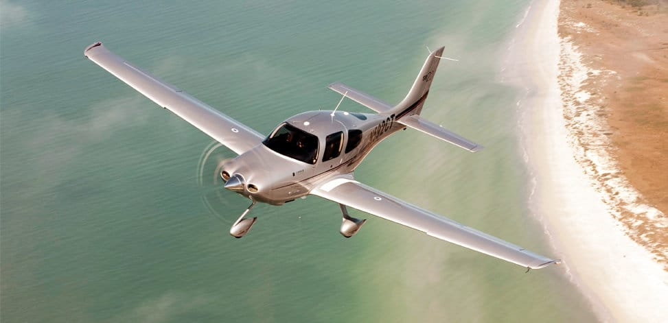 A Cirrus SR20 in flight.