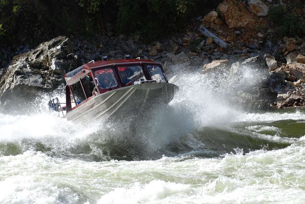A Jet Boat cruising on the salmon river.