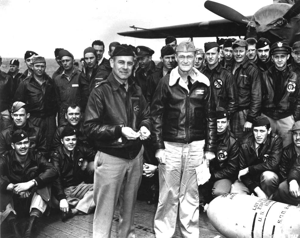 Jimmy Doolittle with a group of World War 2 aviators.