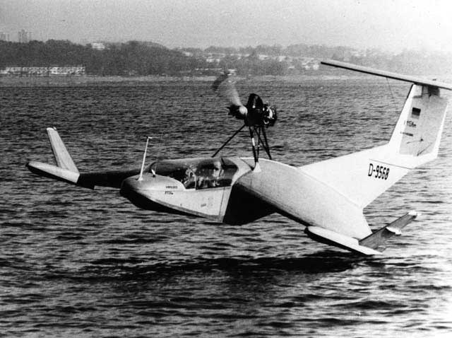 Picture of the X-112 seaplane being tested.