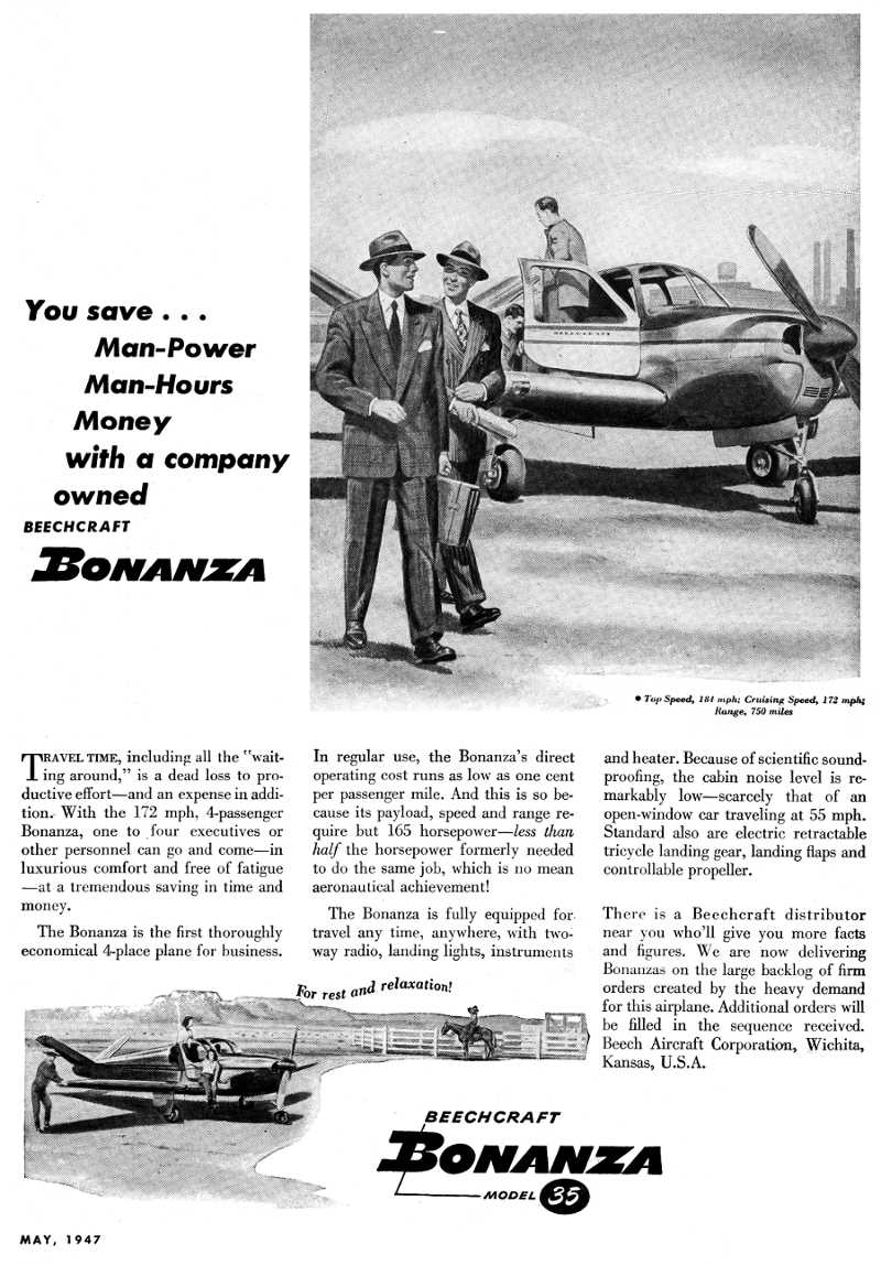 An advertisement for a Beechcraft aircraft, such as the Model a36 Bonanza