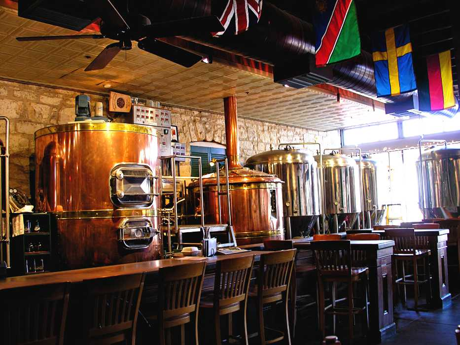 The interior of the Fredericksburg Brewing Co, in downtown Fredericksburg TX.