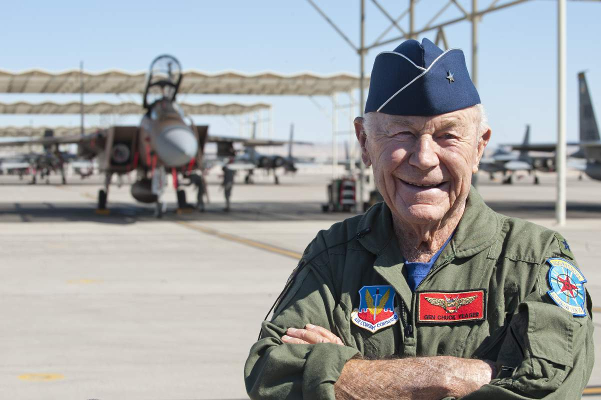 Chuck Yeager in 2012, after recreating his record breaking sound barrier shaterring flight at age 89.