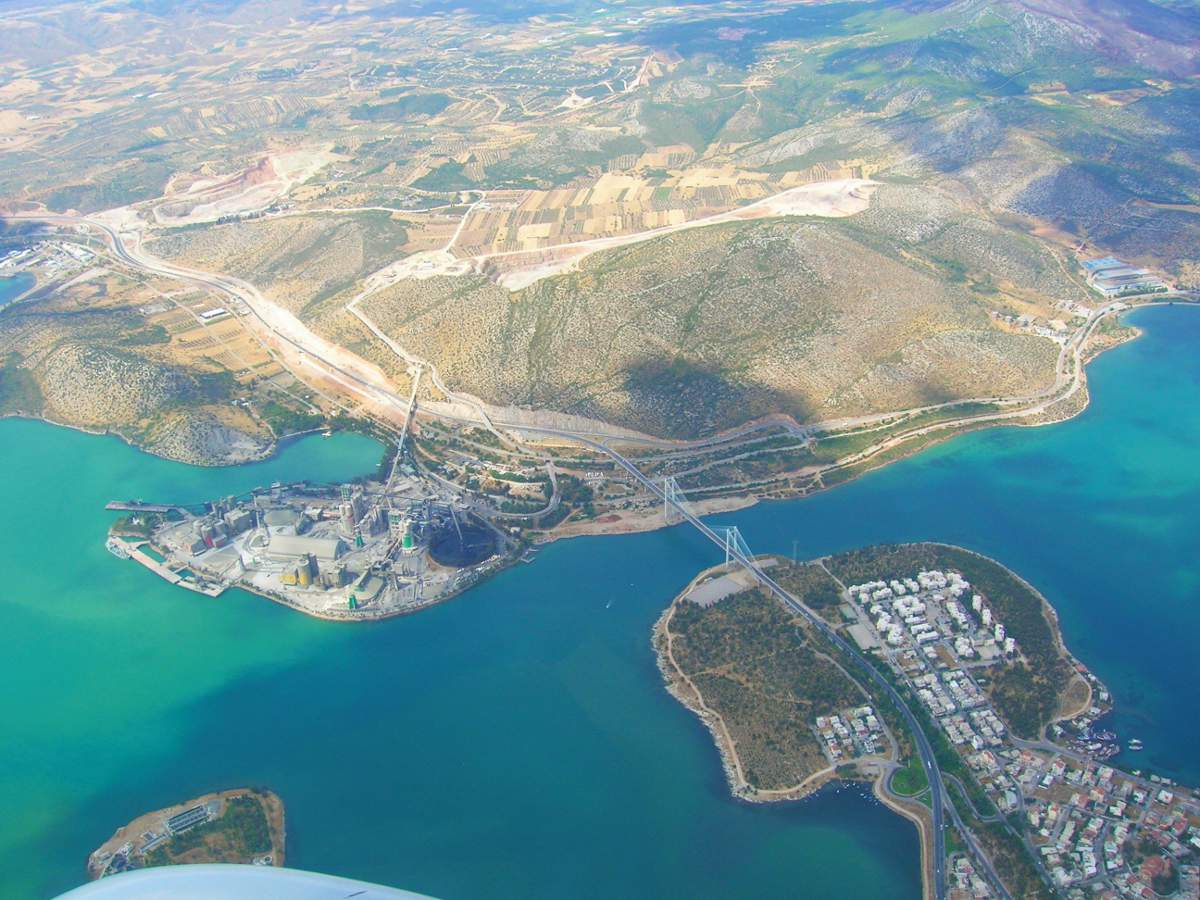 Aerial view of the Greek city of Chaklis and the nearby cement yards.
