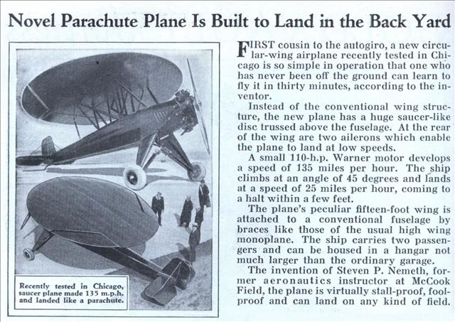 A newspaper clipping discussing the Nemeth Parasol.