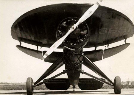 A front view of the strange aircraft called the Nemeth Parasol.