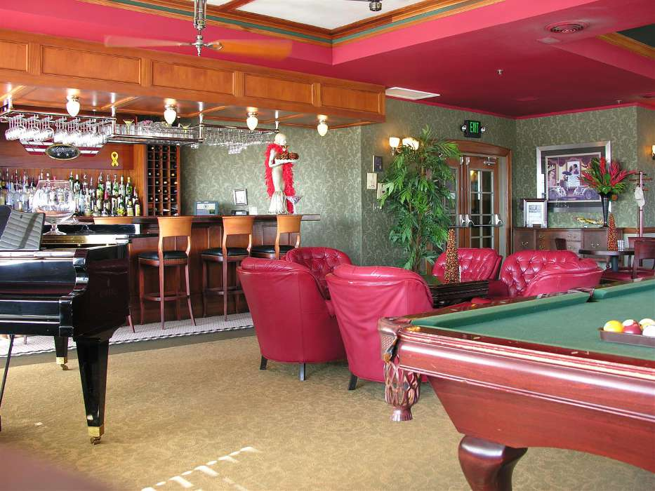 The billiards room in the Hangar Hotel.