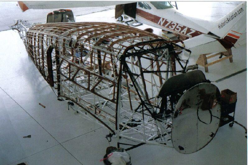 The airframe of a Stinson Model A, as it is being restored.