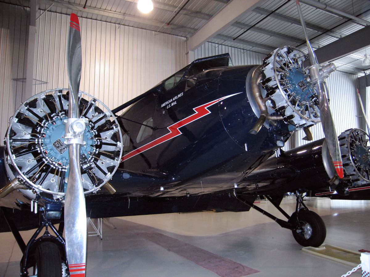 Stinson Model A Tri Motor aircraft, restored and on display at the Golden Wings Museum.