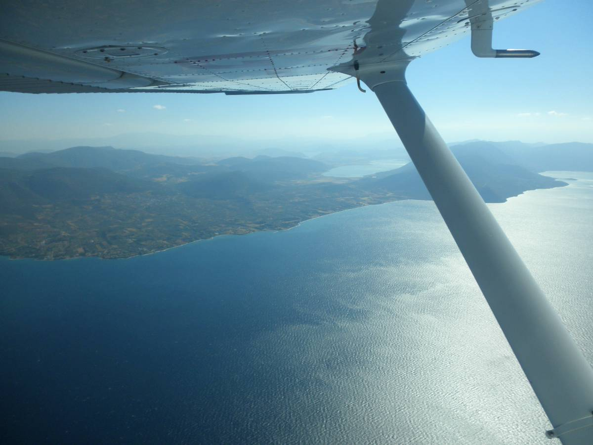 The Greek mainland to the left and Lake Yliki, the main Athens water reservoir.