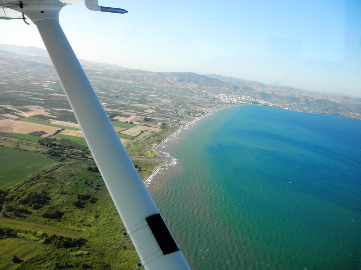 Preparing to land at LGBL, or Volos Airport.
