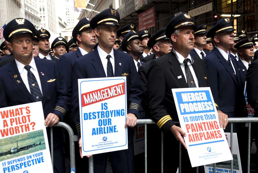 A career pilot group protesting the airlines treatment of pilots.