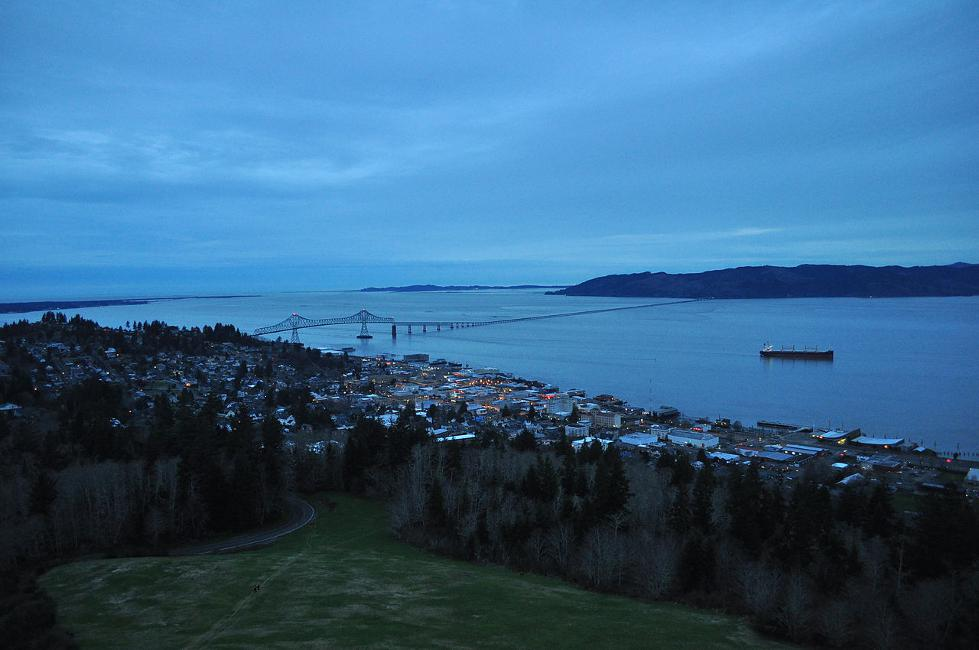 View of Astoria from the Astoria Column, which youc an take in when you visit Astoria Oregon.