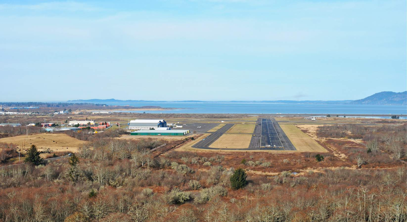 Photo of the approach to the Astoria Regional airport when you visit Astoria Oregon.
