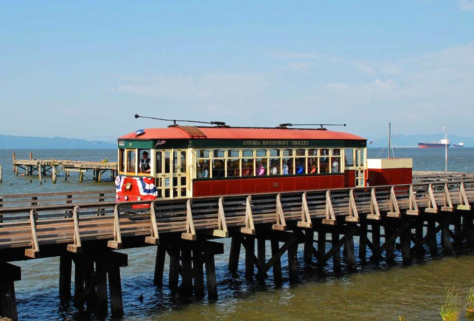 The 300 trolley moving along the waterfront, which can be seen if you visit Astoria Oregon.
