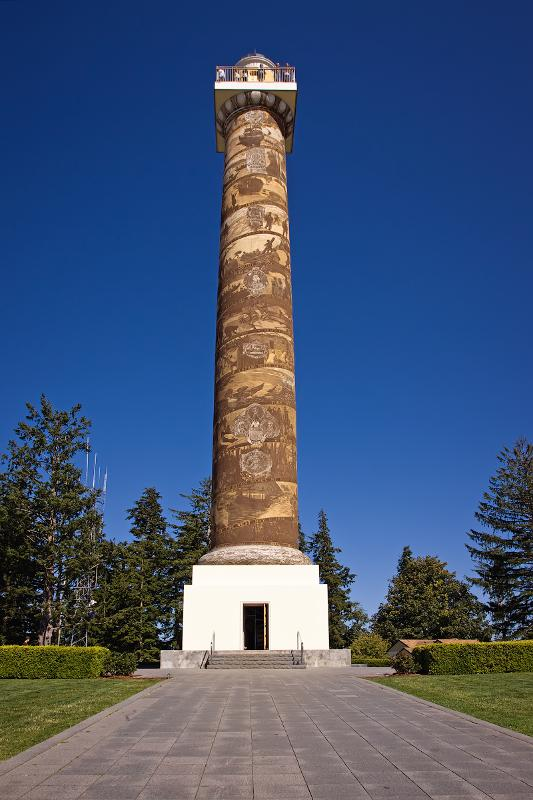 View of the Astoria Column, on a clear day, which can be seen when you visit Astoria Oregon.